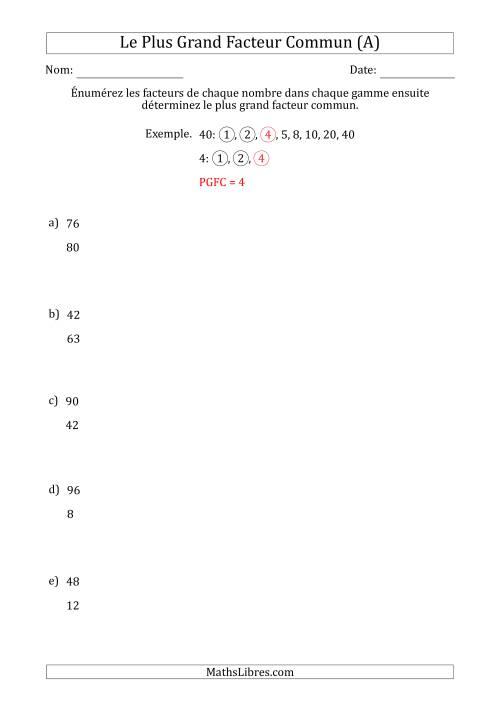 La Déterminez le Plus Grand Facteur Commun d'un Série de Deux Nombres de 4 à 100 (A) Fiche d'Exercices sur le Sens des Nombres
