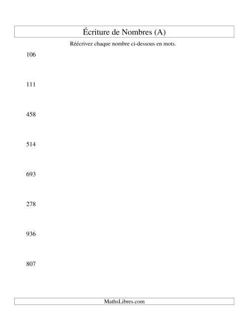 La Nombres écrits -- 3-chiffres (A) Fiche d'Exercices sur le Sens des Nombres