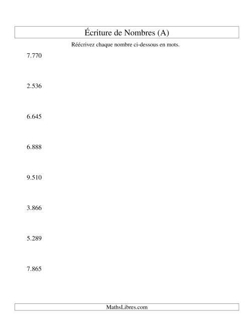 La Nombres écrits -- 4-chiffres (version EU) (A) Fiche d'Exercices sur le Sens des Nombres