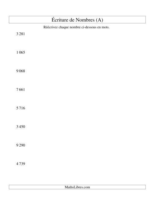 La Nombres écrits -- 4-chiffres (version SI) (A) Fiche d'Exercices sur le Sens des Nombres