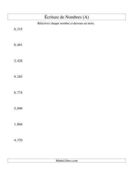 La Nombres écrits -- 4-chiffres (version US) (A) Fiche d'Exercices sur le Sens des Nombres