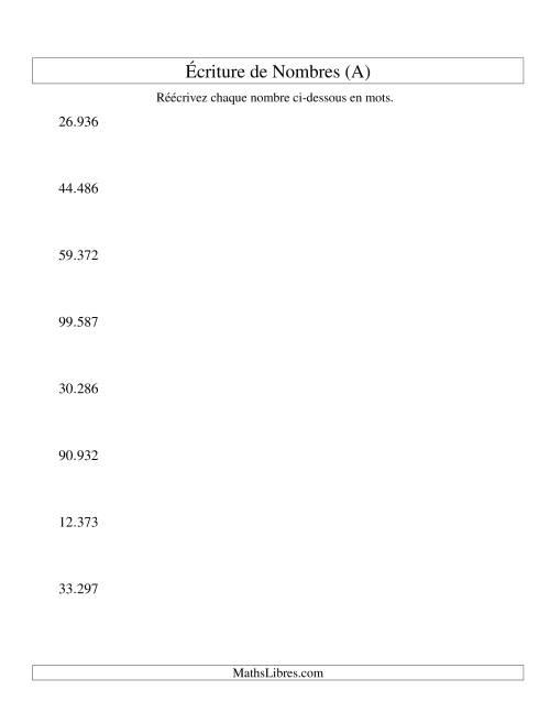 La Nombres écrits -- 5-chiffres (version EU) (A) Fiche d'Exercices sur le Sens des Nombres