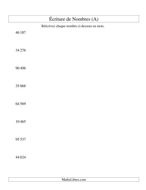 La Nombres écrits -- 5-chiffres (version SI) (A) Fiche d'Exercices sur le Sens des Nombres
