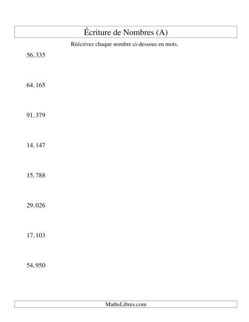 La Nombres écrits -- 5-chiffres (version US) (A) Fiche d'Exercices sur le Sens des Nombres
