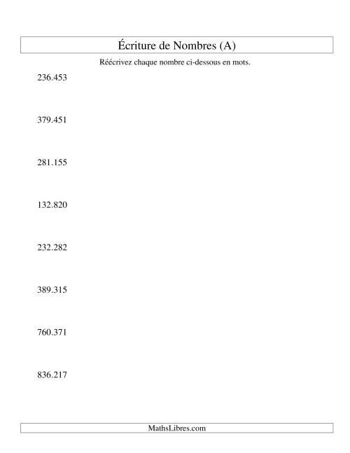 La Nombres écrits -- 6-chiffres (version EU) (A) Fiche d'Exercices sur le Sens des Nombres
