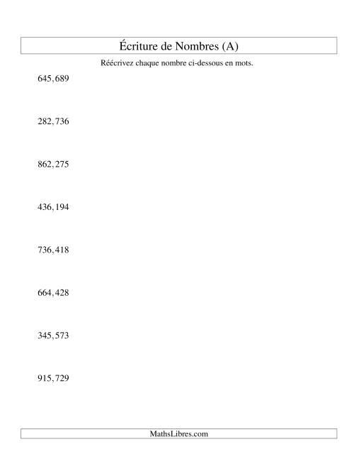 La Nombres écrits -- 6-chiffres (version US) (A) Fiche d'Exercices sur le Sens des Nombres