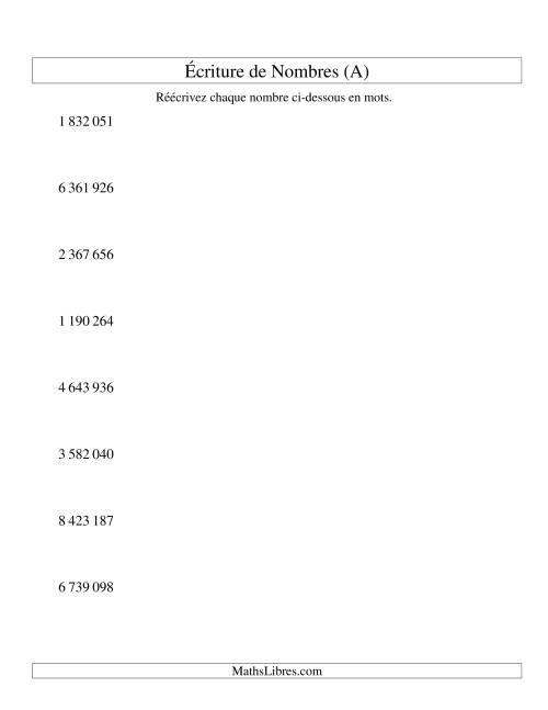 La Nombres écrits -- 7-chiffres (version SI) (A) Fiche d'Exercices sur le Sens des Nombres
