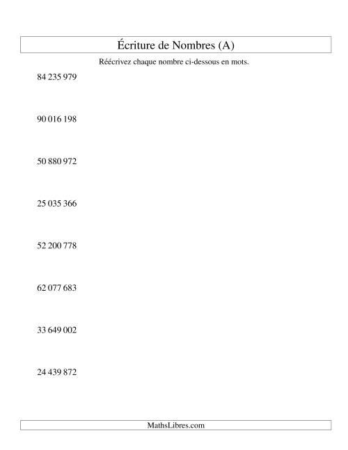 La Nombres écrits -- 8-chiffres (version SI) (A) Fiche d'Exercices sur le Sens des Nombres