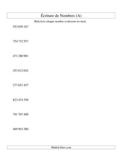 La Nombres écrits -- 9-chiffres (version SI) (A) Fiche d'Exercices sur le Sens des Nombres