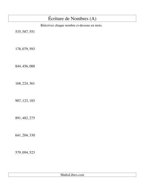 La Nombres écrits -- 9-chiffres (version US) (A) Fiche d'Exercices sur le Sens des Nombres