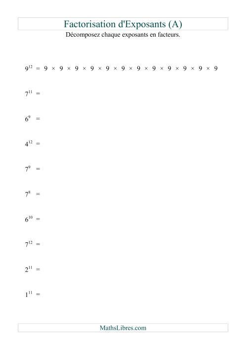 La Décomposition de nombres en facteurs premiers (base 1 à 9; exposant 7 à 12) (A) Fiche d'Exercices sur le Sens des Nombres
