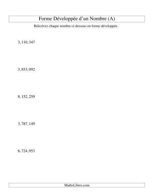La Écriture de nombres en forme dévoleppée 1,000,000 à 9,999,999 (version US) (A) Fiche d'Exercices sur le Sens des Nombres