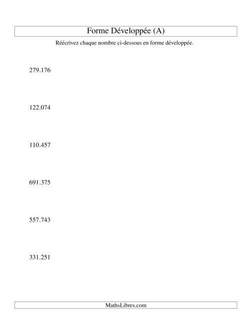 La Écriture de nombres en forme dévoleppée 100.000 à 999.999 (version EU) (A) Fiche d'Exercices sur le Sens des Nombres