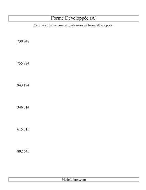 La Écriture de nombres en forme dévoleppée 100 000 à 999 999 (version SI) (A) Fiche d'Exercices sur le Sens des Nombres