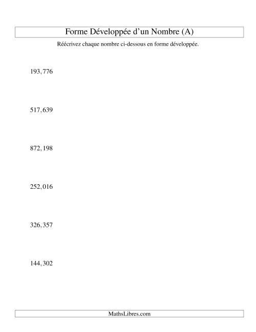 La Écriture de nombres en forme dévoleppée 100,000 à 999,999 (version US) (A) Fiche d'Exercices sur le Sens des Nombres