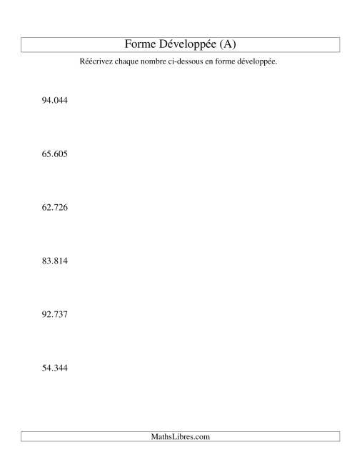 La Écriture de nombres en forme dévoleppée 10.000 à 99.999 (version EU) (A) Fiche d'Exercices sur le Sens des Nombres