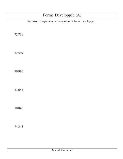 La Écriture de nombres en forme dévoleppée 10 000 à 99 999 (version SI) (A) Fiche d'Exercices sur le Sens des Nombres