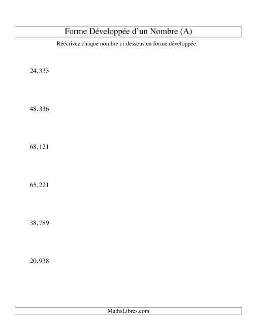 La Écriture de nombres en forme dévoleppée 10,000 à 99,999 (version US) (A) Fiche d'Exercices sur le Sens des Nombres