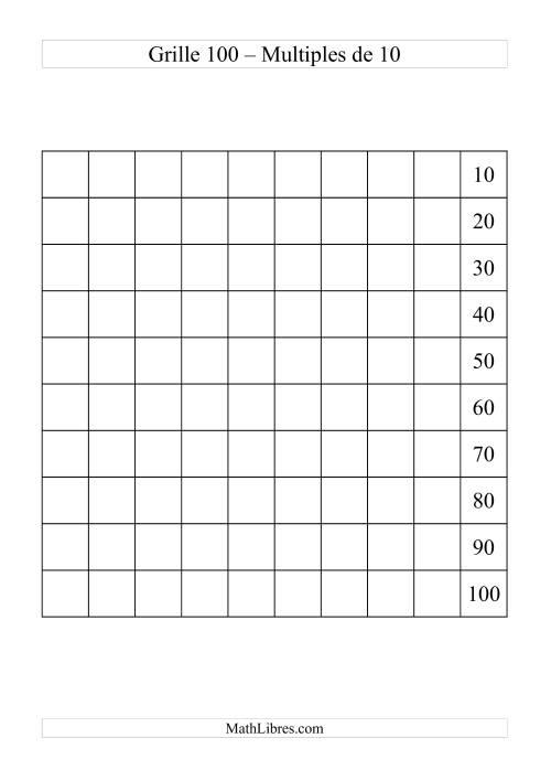 La Grille de 100 avec des multiples de 10 Fiche d'Exercices sur le Sens des Nombres