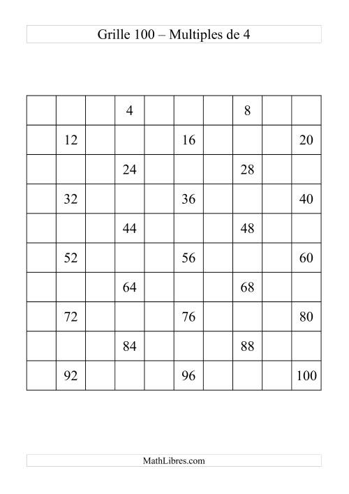 La Grille de 100 avec des multiples de 4 Fiche d'Exercices sur le Sens des Nombres