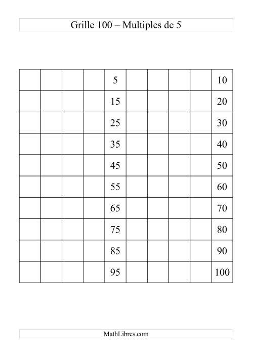 La Grille de 100 avec des multiples de 5 Fiche d'Exercices sur le Sens des Nombres