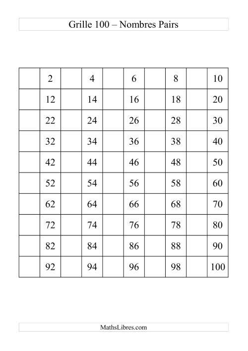 La Grille de 100 avec des nombres pairs Fiche d'Exercices sur le Sens des Nombres