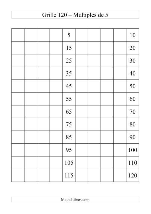 La Grille de 120 avec des multiples de 5 Fiche d'Exercices sur le Sens des Nombres