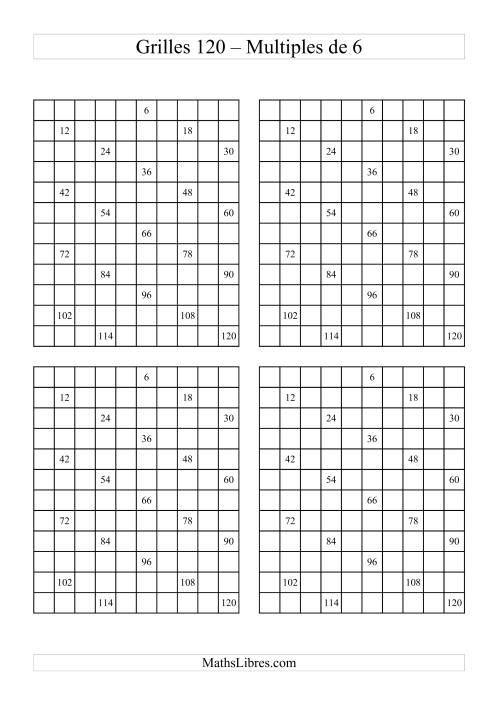 La Quatre Grille des 120 avec des multiples de 6 Fiche d'Exercices sur le Sens des Nombres