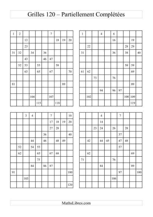 La Quatre Grille des 120 remplies partiellement (A) Fiche d'Exercices sur le Sens des Nombres
