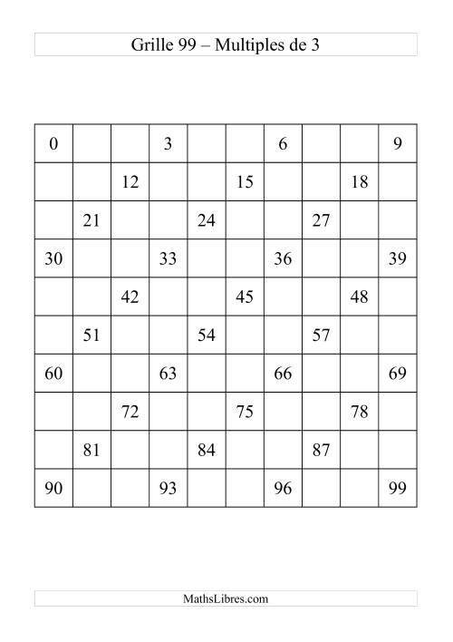 La Grille de 99 avec des multiples de 3 Fiche d'Exercices sur le Sens des Nombres