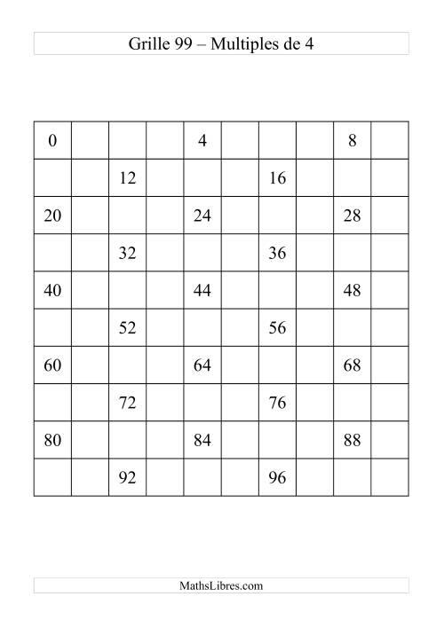 La Grille de 99 avec des multiples de 4 Fiche d'Exercices sur le Sens des Nombres