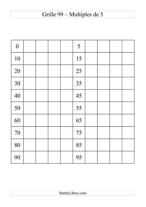 La Grille de 99 avec des multiples de 5 Fiche d'Exercices sur le Sens des Nombres