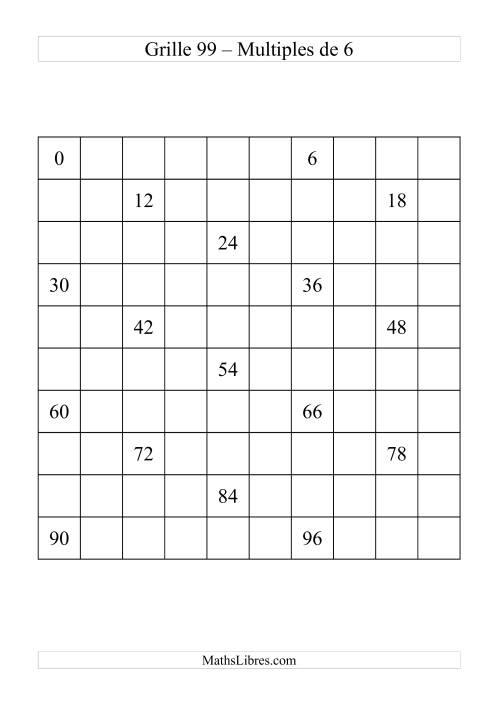 La Grille de 99 avec des multiples de 6 Fiche d'Exercices sur le Sens des Nombres