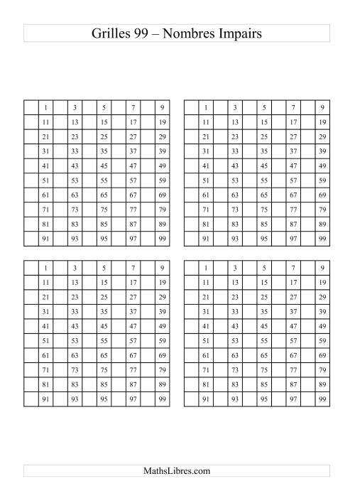 La Quatre Grille des 99 avec des nombres impairs Fiche d'Exercices sur le Sens des Nombres
