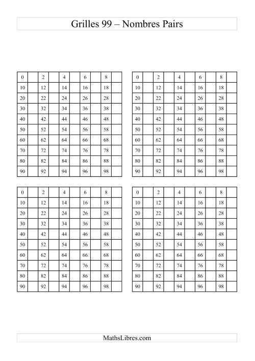 La Quatre Grille des 99 avec des nombres pairs Fiche d'Exercices sur le Sens des Nombres
