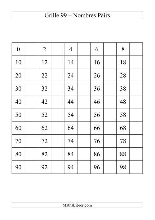 La Grille de 99 avec des nombres pairs Fiche d'Exercices sur le Sens des Nombres