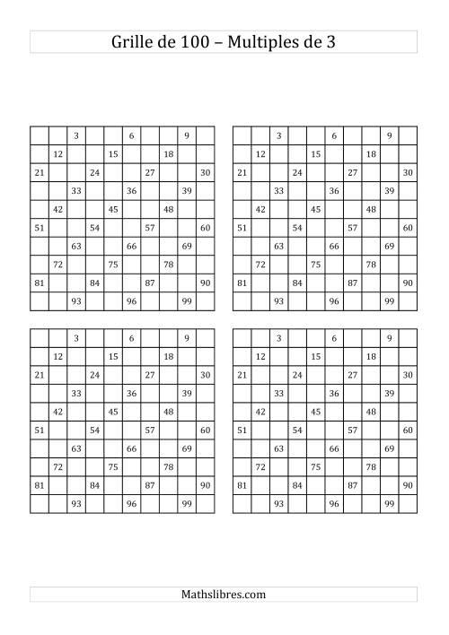 La Quatre Grilles de 100 (Multiples de 3) Fiche d'Exercices sur le Sens des Nombres