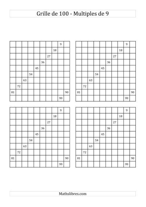La Quatre Grilles de 100 (Multiples de 9) Fiche d'Exercices sur le Sens des Nombres