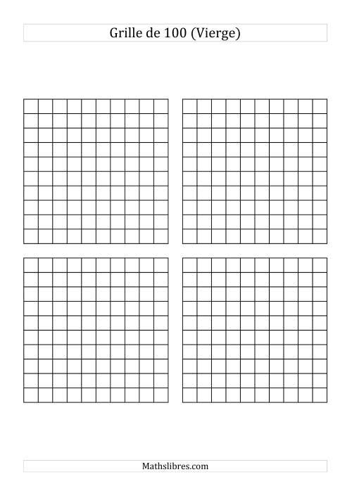 Grille des nombres de 1 100 vierge - Table de multiplication vierge a imprimer ...