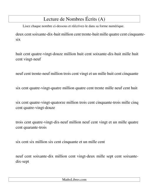 La Lecture de nombres écrits -- 9-chiffres (A) Fiche d'Exercices sur le Sens des Nombres