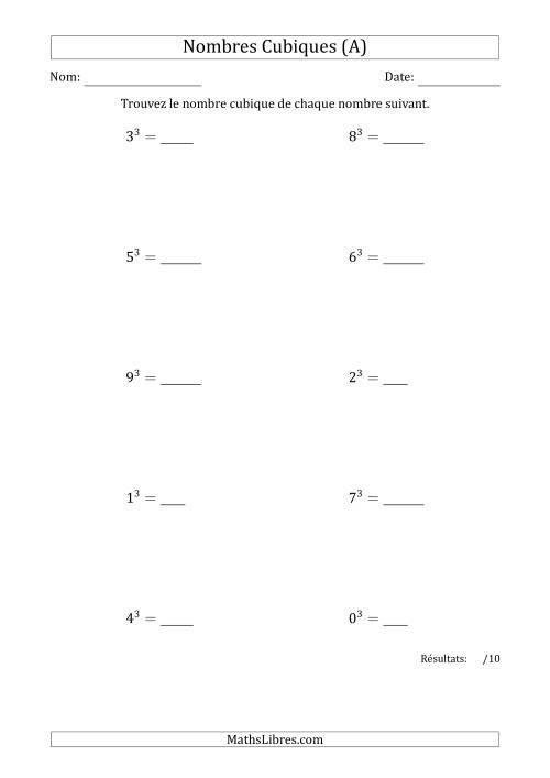 La Nombres Cubiques de 0 à 9 (A) Fiche d'Exercices sur le Sens des Nombres