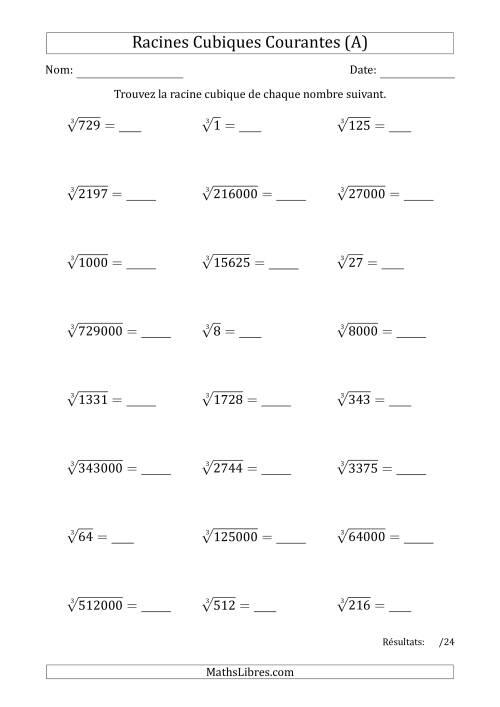 La Racines Cubiques Courantes (A) Fiche d'Exercices sur le Sens des Nombres
