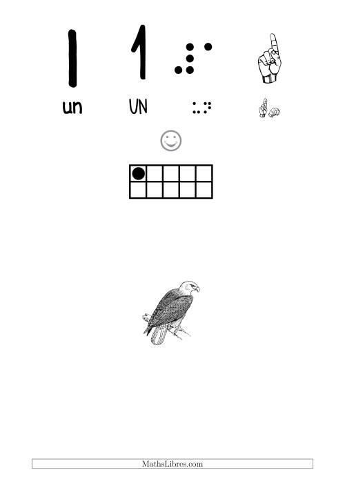 La Reconnaissance de Nombre 1 avec Comme Thème un Oiseau Fiche d'Exercices sur le Sens des Nombres