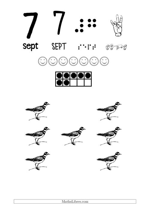 La Reconnaissance de Nombre 7 avec Comme Thème un Oiseau Fiche d'Exercices sur le Sens des Nombres