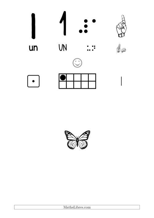 La Reconnaissance de Nombre 1 avec Comme Thème un Papillon Fiche d'Exercices sur le Sens des Nombres