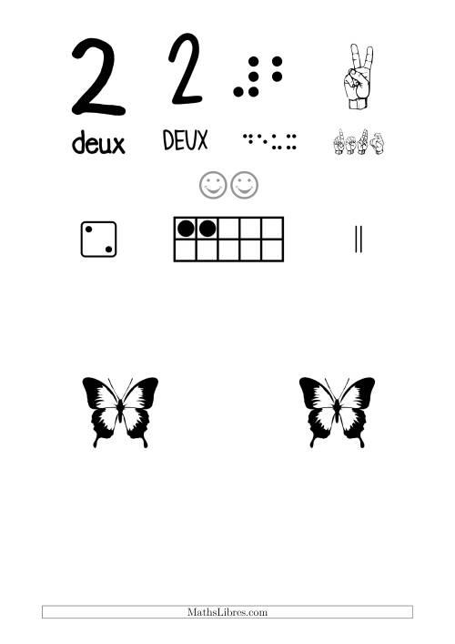 La Reconnaissance de Nombre 2 avec Comme Thème un Papillon Fiche d'Exercices sur le Sens des Nombres