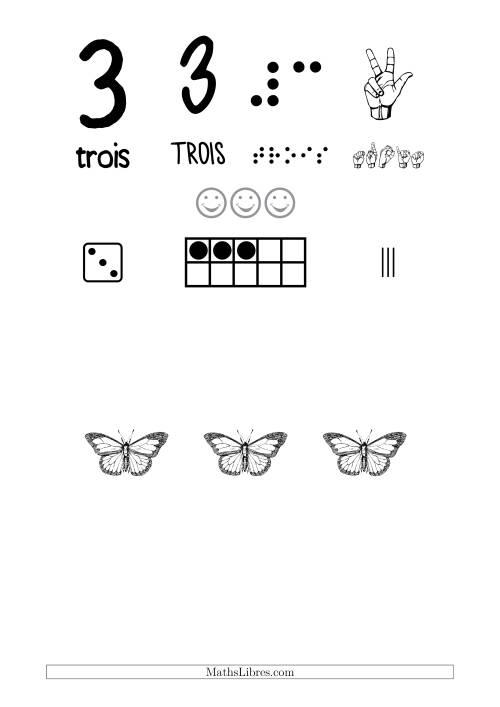 La Reconnaissance de Nombre 3 avec Comme Thème un Papillon Fiche d'Exercices sur le Sens des Nombres