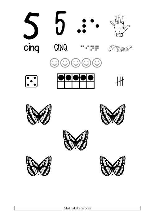 La Reconnaissance de Nombre 5 avec Comme Thème un Papillon Fiche d'Exercices sur le Sens des Nombres