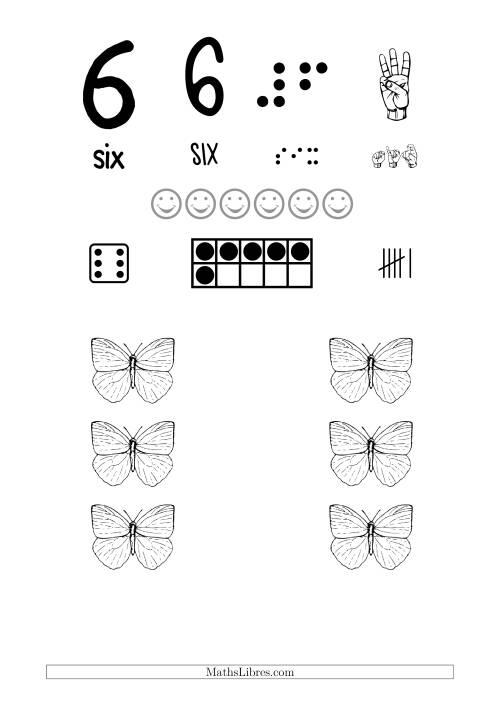 La Reconnaissance de Nombre 6 avec Comme Thème un Papillon Fiche d'Exercices sur le Sens des Nombres