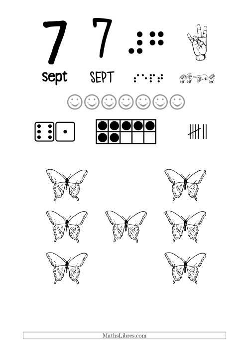 La Reconnaissance de Nombre 7 avec Comme Thème un Papillon Fiche d'Exercices sur le Sens des Nombres